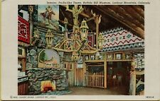 Interior View Pa-Ha-Ska Tepee Buffalo Bill Lookout Mountain CO Postcard B6