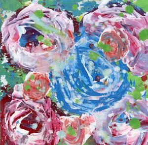 12x12 Print - Blue Rose Floral Flower Painting Print Katie Jeanne Wood