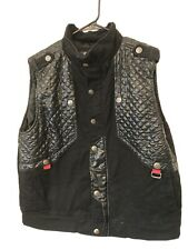 Men's Ak:cess Sleeveless Jacket Vest Black Denim /faux Leather XL Snap Front