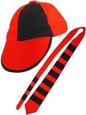 Adults School Boy Red & Black Cap And Tie Set New Fancy Dress Stag Night Party