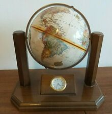 REPLOGLE DESK TOP EXECUTIVE GLOBE WITH CLOCK IN CENTER MADE IN USA