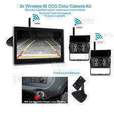 "2x Wireless 12-24V IR CCD Reversing CCD Camera +5"" Rear View Monitor For Caravan"