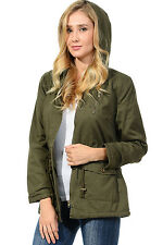 Auliné Collection Womens Military Safari Utility Fashion Hoodie Anorak Jacket