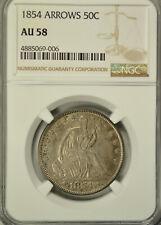 1854 Seated half dollar, Arrows, NGC AU58