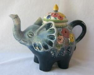 Blue Sky Clayworks FLOWER ELEPHANT Ceramic Teapot by Heather Goldminc