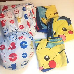 Pokemon Pikachu Electric Ignite Sheet Set Full Size with 3 Pillowcases. 5-pc