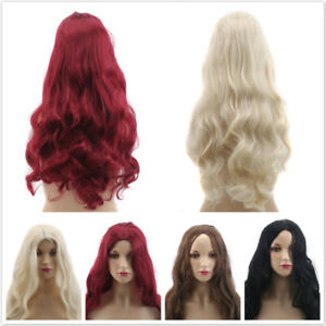 Women Long Synthetic Hair Full Wig Natural Curly Wavy Ombre Blonde Hair Wigs TO