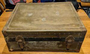 """Vintage Antique Heavy Duty US Red Cross Foot Locker Trunk 24""""x 20""""x 9"""""""