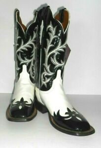 8 B Lucchese Black & White Patent Leather Sq Toe Cowboy Boots Womens #CY2560