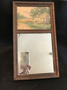Antique Split Column Mirror with Countryside Cottage Scene 15 x 8