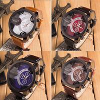 Men's  Fashion Luxury Analog Sport Steel Case Quartz Leather Band Wrist Watch UK