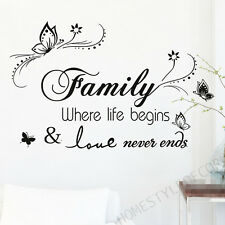 Family Inspirational Wall Art Quotes Stickers Home Decor Decal FREE Butterflies