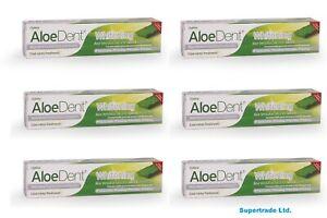 Optima Aloe Dent Aloe Vera Fluoride Free Whitening Toothpaste 100 ml X 6