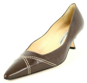 MANOLO BLAHNIK Chocolate Leather Exposed Stitch Vamp Mid-Heel Pumps 37.5