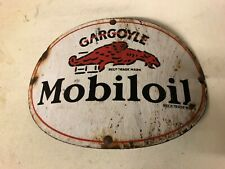 ORIGINAL 1920-3'0'S ENAMEL SIGN GARGOLE MOBILOIL PETROL STATION GARAGE OIL CABI