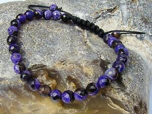 Men's GEMSTONE bracelet all 6mm FIRE CRACKLE AGATE beads