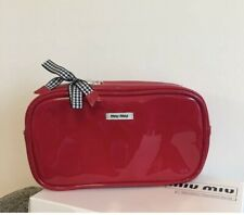 New miumiu Parfums Gift Red Pouch Makeup Cosmetic Bag
