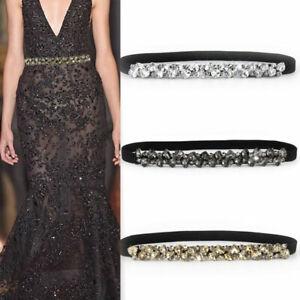 Women Simple Elastic Slim Waist Belt Fashion Rhinestone Buckle Dress Belt Strap