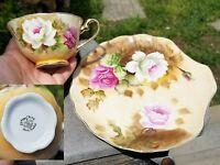 Heritage Brown 1864 LEFTON Floral ROSES SNACK PLATE~TEA CUP SET Dessert
