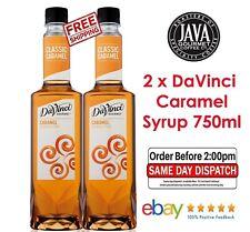 2 x DaVinci Caramel Flavoured Syrup 750ml  FRESH STOCK New Design