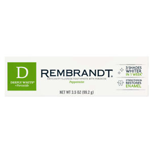 Rembrandt Deeply White peppermint  Toothpaste plus Peroxide 3.5 oz (99.2g)