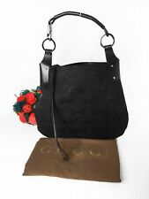e8763cb1c5 Gucci Borsa Bag Hobo Grande in Pelle E Tessuto Nero Leather Vintage Iconic  Logo