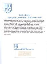 Gordon Dreyer hartlepools Unidos 1934-35 & 1936-37 Raro Orig Firmada A Mano De Corte