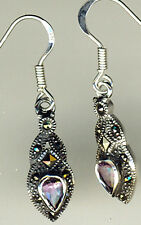 925 Sterling Silver Amethyst & Marcasite Drop / Dangle Earrings    Length 1.3/8""