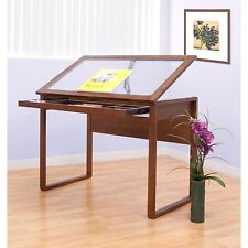 Drafting Table Hobby Craft Artist Desk Architect Drawing Adjustable Glass Wood