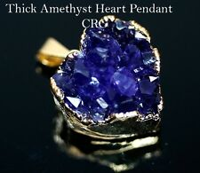 Gold Plated THICK Dark Amethyst Heart Cluster Pendant 25-30mm (DR184)