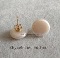 Echte kultivierte 13-14mm weiße Münze Süßwasser Perle Ohrstecker