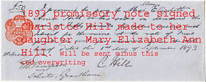 MC  HILL Family of LINCS. 1893 PROM NOTE.