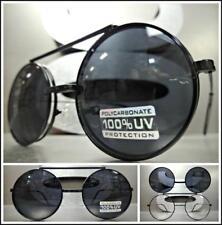 Classic Vintage 60's Retro Style Round Flip Up SUN GLASSES Black Frame Dark Lens