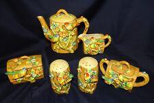 VTG 1930's Majolica Log Look w/ Song Birds 6 Pc Pottery Tea & Condiment Set S&P