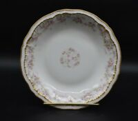 Theodore Haviland Limoges Pink Roses & Double Gold Schleiger 844 Dinner Plate