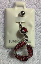 Navel Ring Ribbon Circle Red Gemstones 316L Surgical Steel New