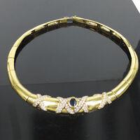 Vintage H Stern 2.50ct Diamond 1.0ct Sapphire 18K Yellow Gold X Design Necklace