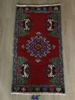 """Turkish Wool Small Area Rug, Vintage Hand Knotted, 3'3""""x 1'9"""", FREE SHIPPING!"""