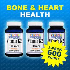 3 Pk Natural Vitamin K2 - Menaquinone 7 (MK 7) 100 mcg 3pk =600 Caps - #1 USA