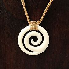 Hand Carved from Hawaii Spiral Wave Koru Necklace