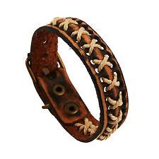 Retro Punk Handmade Ethnic Brown Leather Bracelet Rope Cuff Women/Men`s Couple