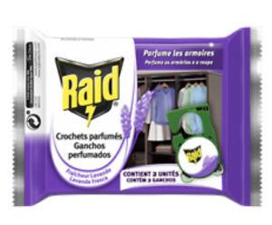 Raid Anti-Mites vêtements Senteur  lavande 2 crochets pour armoire à suspendre
