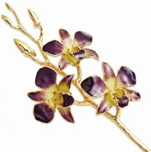 Lacquer Dipped Gold-Tone Trimmed Purple/Yellow Dendrobium Orchid Stem