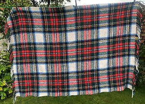 Vintage Blue Green Check Style Blanket Retro Camper Wool Acrylic 50''x34''