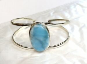 Charming Design Natural Sky Blue Larimar .925 Sterling Silver Cuff Bangle 6inch