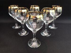 Vintage Gold Rimmed Wine Glasses Set of 6