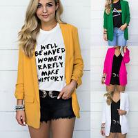 Womens Office Open Front Cardigan Long Sleeve Blazer Casual Jacket Coat Outwear