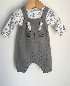 Nutmeg Adorable Baby Girl Bunny Dungarees + Matching Top Set Size Newborn