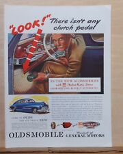 1945 magazine ad for Oldsmobile - Look No Clutch Pedal, interior illustration