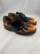 TREDAIR England Black Flame Creeper Shoes Rockabilly Punk Goth Leather Mens 8
